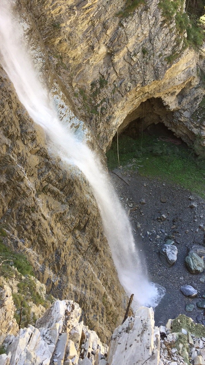 A waterfall encountered during the Via Ferrata.